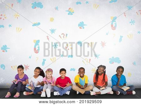 Digital composite of Group of children sitting in front of colorful graphics