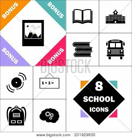 nature photo Icon and Set Perfect Back to School pictogram. Contains such Icons as Schoolbook, School  Building, School Bus, Textbooks, Bell, Blackboard, Student Backpack, Brain Learn