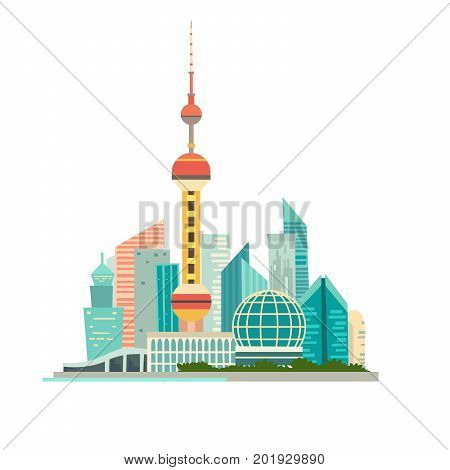 Shanghai cityscape vector icon. Chines urban modern background isolated on white. Buildings and tower construction