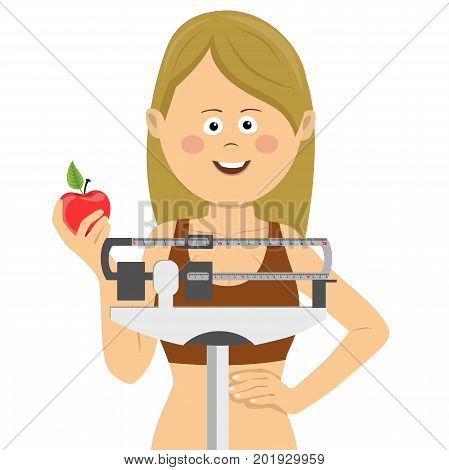 Young cute woman standing on a weighing scale holding red apple on white. Healthy food concept