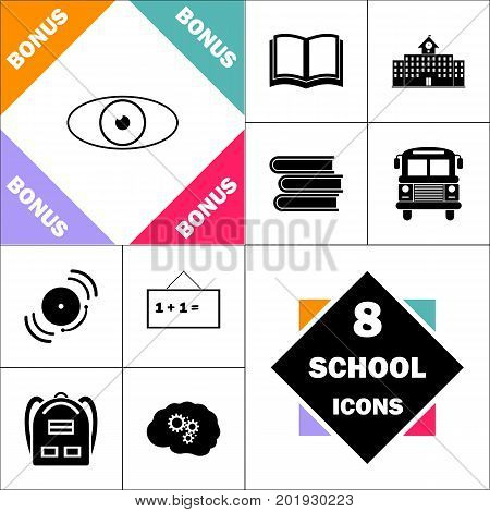 eye Icon and Set Perfect Back to School pictogram. Contains such Icons as Schoolbook, School  Building, School Bus, Textbooks, Bell, Blackboard, Student Backpack, Brain Learn