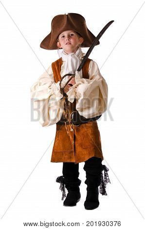 Cute little pirate all ready for Halloween the most fun holiday for kids