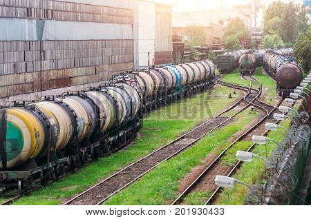 Long Trains Of A Train Of Cisterns With Fuel Oil On A Railway