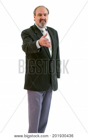 A businessman with amputated left arm reaching to shake hands with his good arm. Isolated on a white background.