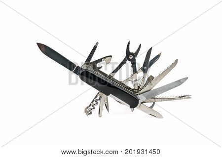 One black multipurpose folding knife isolated on white.