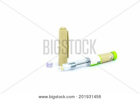 Studio shot of one insulin pen with medicine for diabetes.