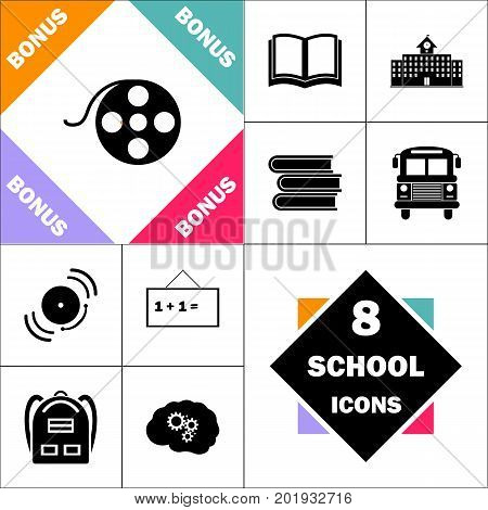 Film reel Icon and Set Perfect Back to School pictogram. Contains such Icons as Schoolbook, School  Building, School Bus, Textbooks, Bell, Blackboard, Student Backpack, Brain Learn