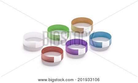 Blank colored paper wristbands mockups 3d rendering. Empty event wrist bands design mock up. Cheap color hand bracelets template isolated. Clear bangle wristlet set with sticker. Concert armlet