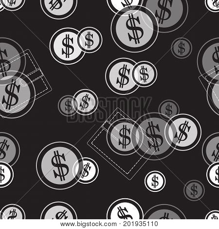 Seamless Pattern With Purses And Dollar Coins. Business And Finance Theme.