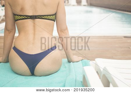 Sexy Lady By Swimming Pool