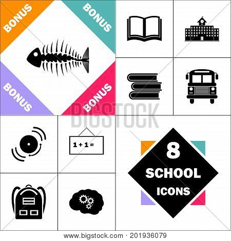 Fishbone Icon and Set Perfect Back to School pictogram. Contains such Icons as Schoolbook, School  Building, School Bus, Textbooks, Bell, Blackboard, Student Backpack, Brain Learn