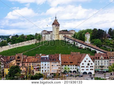 The Munot fortification in the Swiss city of Schaffhausen with it's surrounding vineyards.