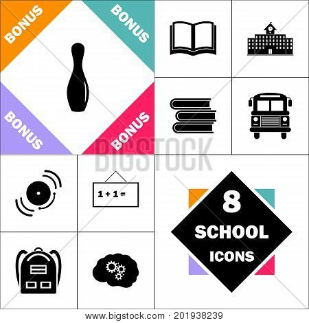 bowling pin Icon and Set Perfect Back to School pictogram. Contains such Icons as Schoolbook, School  Building, School Bus, Textbooks, Bell, Blackboard, Student Backpack, Brain Learn