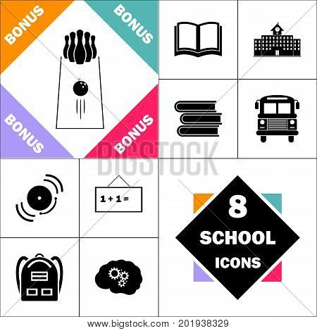 bowling Icon and Set Perfect Back to School pictogram. Contains such Icons as Schoolbook, School  Building, School Bus, Textbooks, Bell, Blackboard, Student Backpack, Brain Learn