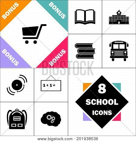 trolley Icon and Set Perfect Back to School pictogram. Contains such Icons as Schoolbook, School  Building, School Bus, Textbooks, Bell, Blackboard, Student Backpack, Brain Learn