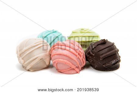 Pop cake decorated, dessert isolated on white background