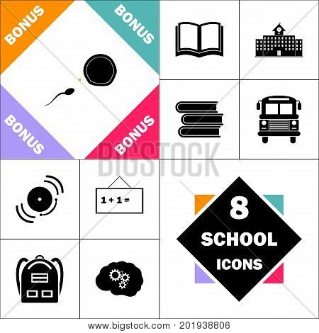 fertilization Icon and Set Perfect Back to School pictogram. Contains such Icons as Schoolbook, School  Building, School Bus, Textbooks, Bell, Blackboard, Student Backpack, Brain Learn