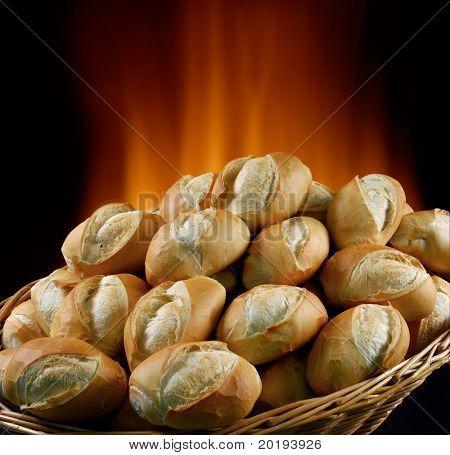 basket of bread baked in wood oven