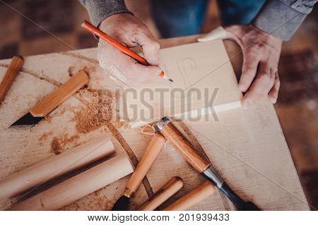 Carpenter Marking Position On Wood