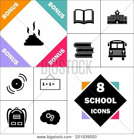 Poop Icon and Set Perfect Back to School pictogram. Contains such Icons as Schoolbook, School  Building, School Bus, Textbooks, Bell, Blackboard, Student Backpack, Brain Learn