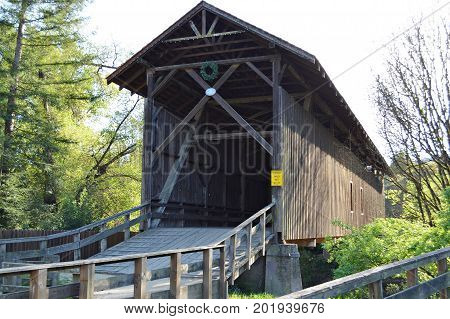 Exterior shot of the tallest covered bridge in the US in Felton, CA