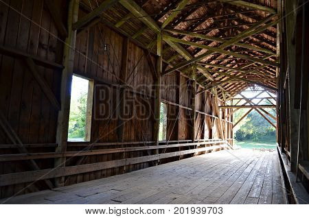 Interior shot of the tallest covered bridge in the US in Felton, CA