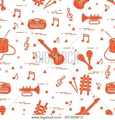 Vector pattern of sheet music and different musical toys: guitar drum trumpet xylophone maracas and other. Design for postcard banner flyer poster or print.