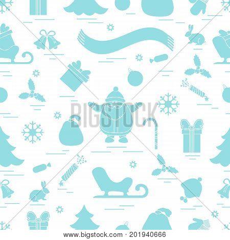 Winter Seamless Pattern With Variety Christmas Elements:  Tree, Balls, Petard, Scarf, Santa Claus, B