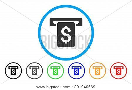 Cash Withdraw vector rounded icon. Image style is a flat gray icon symbol inside a blue circle. Bonus color variants are grey, black, blue, green, red, orange.