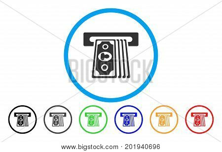 Cashpoint Terminal vector rounded icon. Image style is a flat gray icon symbol inside a blue circle. Additional color versions are gray, black, blue, green, red, orange.