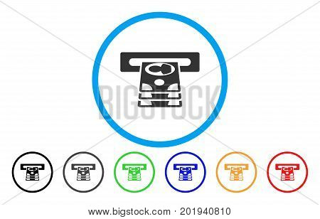 Cashpoint vector rounded icon. Image style is a flat gray icon symbol inside a blue circle. Additional color versions are grey, black, blue, green, red, orange.