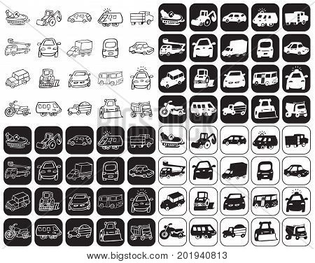illustration on black and white background icons set cars