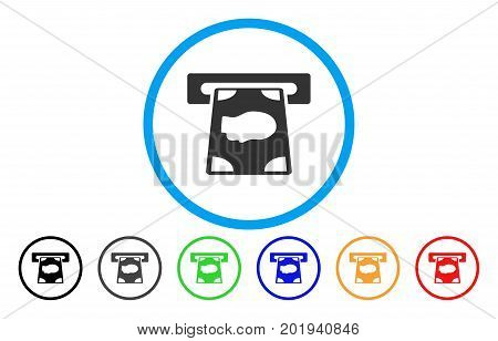 Cashpoint vector rounded icon. Image style is a flat gray icon symbol inside a blue circle. Bonus color variants are grey, black, blue, green, red, orange.