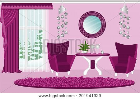 The interior of the living room. Comfortable and luxurious interior room. Chairs table crystal chandelier winter landscape. Cartoon. Vector.