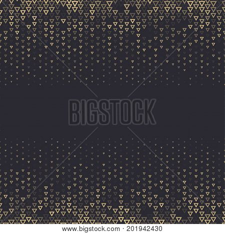 Vector halftone abstract background, black gold gradient gradation. Geometric mosaic triangle shapes monochrome pattern. Simple backdrop design.