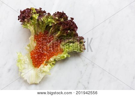 Top view of red caviar on a salad leaf on a light marble background. copy space, Top view.