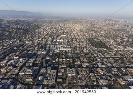 Aerial view of the Hollywood area of Los Angeles, California.