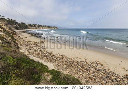 Secluded Dume Cove Beach in Malibu, California.