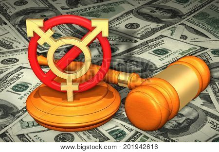 Transgender Ban Law Concept 3D Illustration