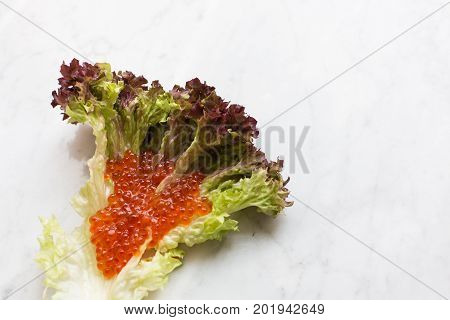 Top view of red caviar on a salad leaf on a light marble background. copy space, Top view. poster