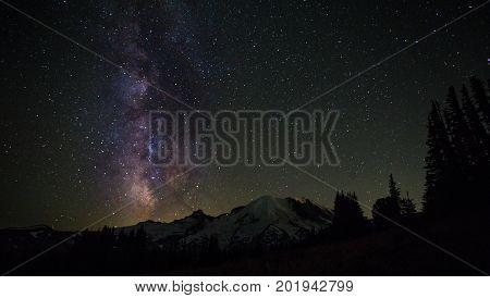 Mount Rainier And Milkyway