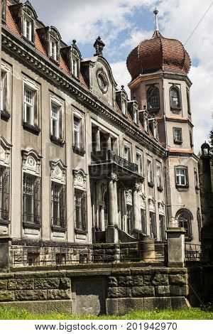 Brynek Poland May 14 2017: Brynk Palace and Park complex in Poland now the seat of the Forest School