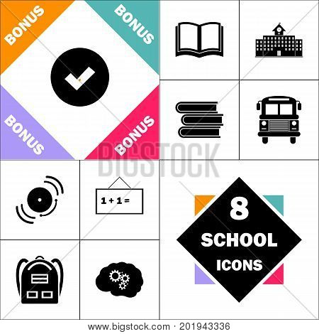 Tick Icon and Set Perfect Back to School pictogram. Contains such Icons as Schoolbook, School  Building, School Bus, Textbooks, Bell, Blackboard, Student Backpack, Brain Learn
