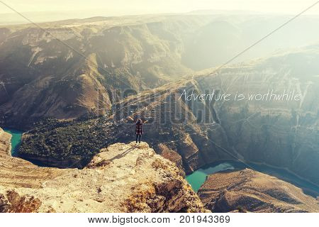 Traveling ???? it leaves you speechless, then turns you into a storyteller/Inspirational Motivational Travel Journey Quote Design. Amazing Aerial view Canyon.Landscape view,mountains