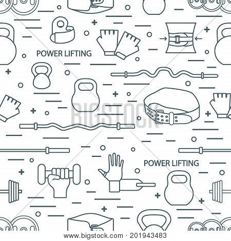 Vector Pattern On The Sports Theme. Different Goods For Weightlifting.