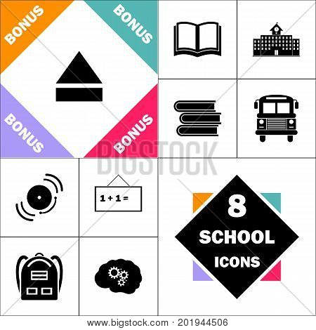 Eject Icon and Set Perfect Back to School pictogram. Contains such Icons as Schoolbook, School  Building, School Bus, Textbooks, Bell, Blackboard, Student Backpack, Brain Learn