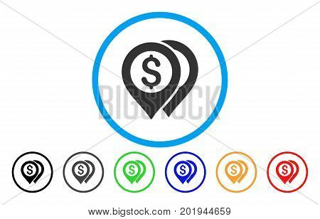 Dollar Bank Markers vector rounded icon. Image style is a flat gray icon symbol inside a blue circle. Additional color variants are gray, black, blue, green, red, orange.