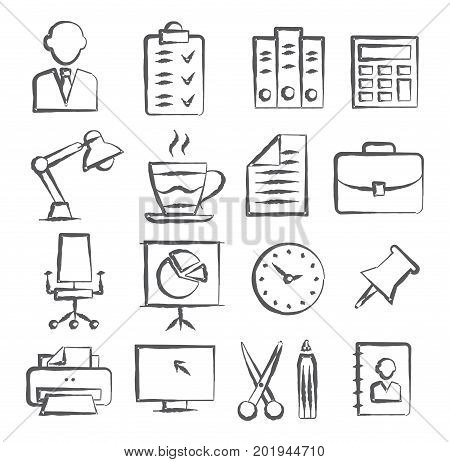 Gray Office Doodle Icons on white background