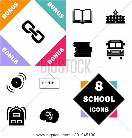 Link Icon and Set Perfect Back to School pictogram. Contains such Icons as Schoolbook, School  Building, School Bus, Textbooks, Bell, Blackboard, Student Backpack, Brain Learn