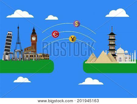 Money transaction around world. Online banking. Vector illustration.